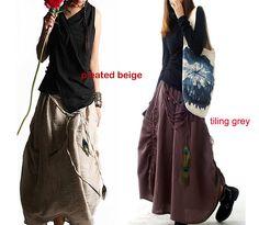 Peacock  cotton linen maxi skirt / green maxi skirt / peacock