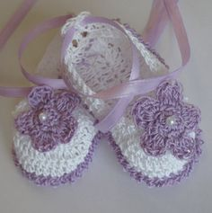 Crocheted Newborn Infant Baby Girl Booties Crib by babycrochets