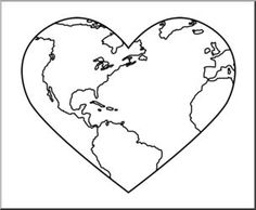 Clip Art: Earth: Heart B&W - nature and the environment illustration