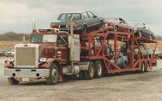 1970's and 80's iron on an old Delavan in the early 1990's. Very interesting Peterbilt tractor. York, PA, cars going to NY.
