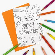 Printable Best Teacher thank you card colour in teacher appreciation notecard. Digital Instant Download. Design by hfcSupplies Etsy. Click through to find more colour in thank you teacher card designs!
