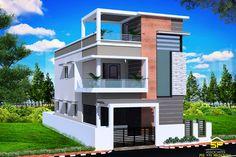SP Associates in Pudukkottai & Bangalore, Home House Projects in Pudukkottai & Bangalore Village House Design, House Front Design, Small House Design, Door Design, Building Elevation, House Elevation, 3 Storey House Design, Front Elevation Designs, Independent House
