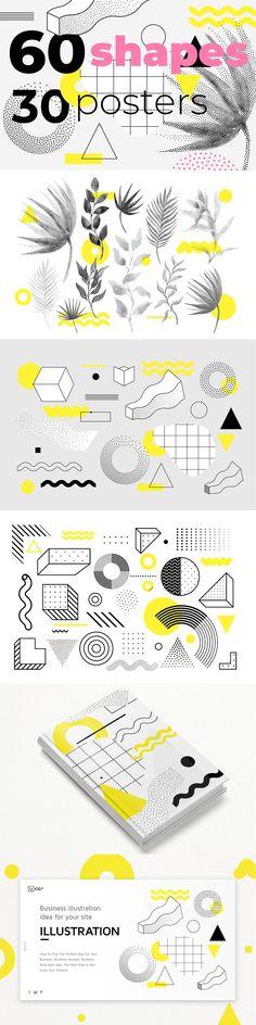 60 geometric shapes,