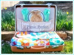 Yet another awesome repurpose of a vintage suitcase! Keep in your vehicle for those spontaneous (chaos calming) picnics. This one was made using a vintage quilt purchased from Craig's List, an owl shaped trivet (thrift store find) and a company giveaway picnic kit. The suitcase was in near perfect condition, too nice to disassemble. The …