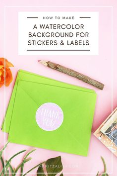 How to EASILY make a Watercolor Background for your DIY Labels or Stickers Craft Tutorials, Craft Projects, Diy Paper, Paper Crafts, Diy Notebook, How To Make Diy, Fun Crafts For Kids, Diy Stickers, Lettering