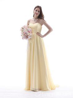 【Everytide.com Bridesmaid Dress】Wholesale Milk Yellow Bridesmaid Dresses Long