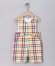 Rainbow Gingham Shortalls - Infant