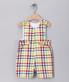 Rainbow Gingham Shortalls - Infant