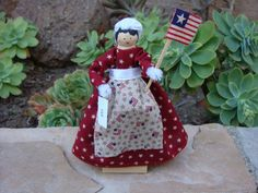 USA clothespin doll - red dress USA flag, of July, retro civil war fabric Metal Spring, 4th Of July Decorations, Clothespin Dolls, Popsicle Sticks, Usa Flag, Foundation, Old Things, War, Christmas Ornaments
