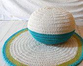 Pouf Crochet piccolo - ecrù e turchese