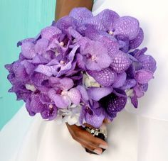 Purple Orchids & White Hydrangeas