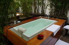 The soaking tubs on the private outdoor patio at Spa Vitale are surrounded by bamboo shoots for your comfort.  #travel #sanfrancisco #california
