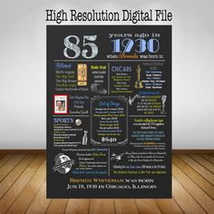 Personalized 85th Birthday Chalkboard Poster Design, 1930 Events & Fun Facts…