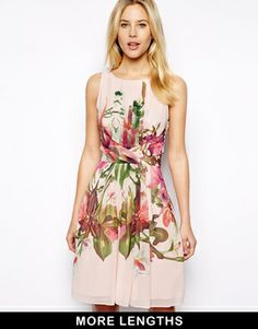 Image 1 of Ted Baker Symmetrical Orchid Print Dress