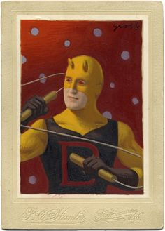 """Daredevil Original Costume"" Mixed (Media on Antique Photograph, 7 x 5 Inches)"