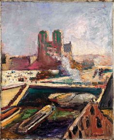 """Henri Matisse (b.1869 - d.1954, French), """"Notre-Dame"""", (ca. 1900), Oil on canvas; 18 1/8 x 14 3/4 inch (46 x 37, 5 cm.), 'Tate Gallery': Purchased, (1949) © 2012 Succession H. Matisse / Artists Rights."""