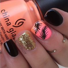 Feather nails It's been a while! I used CG- sun of a peach and bottoms up from Beauty Bar Get Nails, Fancy Nails, Love Nails, How To Do Nails, Pretty Nail Designs, Nail Art Designs, Feather Nail Designs, Feather Design, Gorgeous Nails
