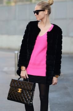 sweater, skirt, tights, purse, fur, pink, sunglasses, Chanel, fashion