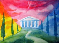 Waldorf ~ 5th grade ~ Ancient Greece ~ watercolor painting
