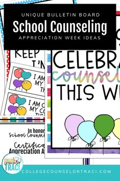 This Rainbow celebration poster and bulletin board set is excellent for celebrating and appreciating the counselors in your school! Celebrate your school counselors that help students with college and career readiness efforts! Are you looking for National School Counseling Week Ideas? Check out this resource to help you honor your school counselors! Shop College Counselor Traci for more ideas! #schoolcounseling #nationalschoolcounselingweek #NSCW College Costs, College Success, Education College, College Major Quiz, Counselor Bulletin Boards, National School Counseling Week, Bachelor Program, Online College Degrees, Teaching Skills