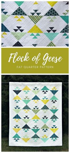 Flock of Geese by Cheryl of Meadow Mist Designs is a fat quarter friendly based on the tradition birds in the air block. The pattern contains instructions for two sizes: baby and lap. #meadowmistdesigns #flockofgeesequilt #birdsintheairquilt #babyquilt #lapquilt #throwquilt Modern Quilt Patterns, Modern Quilting, Paper Piecing Patterns, Baby Patterns, Fabric Patterns, Big Block Quilts, Quilt Blocks, Quilting Tutorials, Quilting Designs