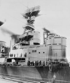 HMS Hood - 1918.  Here we can see her armoured conning tower (on the right hand side).  Hood's spotting top, is located at the very top of this image.