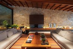 Completed in this gorgeous midcentury modern home was built to rest in the midst of the architectural haven at the end of Nichols Canyon Road in Los Angeles, California. Living Room Home Theater, Mountain Home Exterior, Stone Houses, Mid Century House, Modern Bedroom, My Dream Home, Exterior Design, Interior Architecture, Building A House