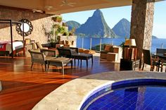 Sundeck daybed:  Majestic Jade Mountain Resort, St. Lucia: