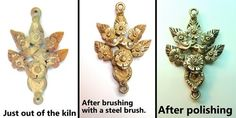 stages of Goldie Bronze metal clay: fired, brushed, polished, by Lorena Angulo