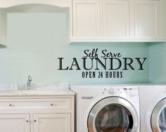 Vinyl Wall Decal Self Serve Laundry Open 24 by decorexpressions, $40.00
