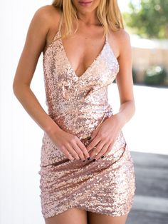Pink Sequin Plunge Draped Wrap Strappy Back Cami Dress - MYNYstyle - 1