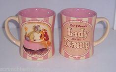 Disney Store 25th Anniversary Lady & the Tramp Pink Cream Coffee Mug NEW