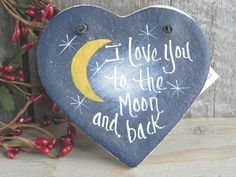 Moon and Back Salt Dough Ornament! This is a handcrafted salt dough heart ornament for someone special! Hand painted by me, all lettering is also done by hand. Ornament is sealed with a coat of varnis Pebble Painting, Pebble Art, Stone Painting, Diy Painting, Kids Crafts, Diy And Crafts, Stone Crafts, Rock Crafts, Salt Dough Ornaments