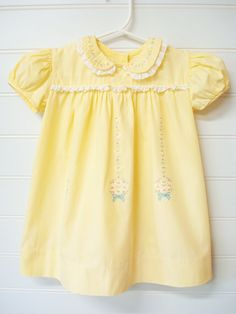 Vintage Baby Clothes Baby Girl Dress Yellow Baby by OnceUponADaizy