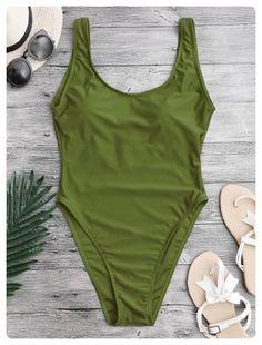 Backless High Cut Swimwear (Green)