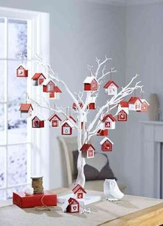Decorative White Twig Tree Display advent houses on White Twig Tree from Hobbycraft 50 Diy Christmas Decorations, Christmas Crafts For Kids, Xmas Crafts, Christmas Diy, Holiday Decor, Christmas Ornaments, Tree Decorations, Tree Branch Centerpieces, Christmas Bunting