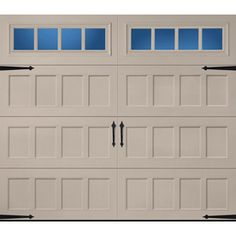 Pella Carriage House Series 8-ft x 7-ft Insulated Sandtone Garage Door with Windows
