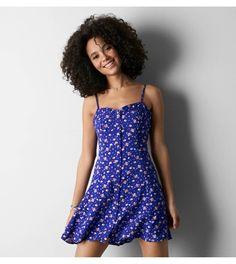Cobalt Blue AEO Floral Button Front Slip Dress