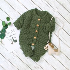 * Bottom snap * Soft and comfy * Material: Acrylic * Machine wash, tumble dry * Imported Knitted Baby Outfits, Baby Outfits Newborn, Baby Boy Outfits, Kids Outfits, Knitted Baby Clothes, Baby Boy Knitting Patterns, Baby Clothes Patterns, Knitting For Kids, Baby Jumpsuit