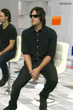 Norman Reedus and Andrew Lincoln<<< I do that all the time with those chairs xD