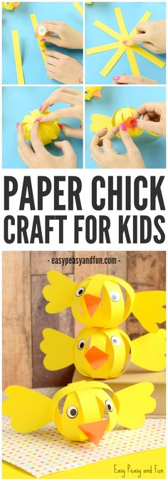 Simple Paper Chick Craft – Easter Craft Ideas pg j Easter Art, Easter Crafts For Kids, Toddler Crafts, Easter Ideas, Easter Activities, Craft Activities, Easy Paper Crafts, Fun Crafts, Paper Easter Crafts
