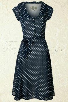 Collectif Clothing Violet Polka Dot Dress in Blue - Damenmode Robes Vintage, Vintage Dresses, Vintage Outfits, Vintage Fashion, Pretty Outfits, Pretty Dresses, Beautiful Outfits, Cute Outfits, Dot Dress