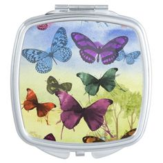 Colorful watercolor butterflies illustration makeup mirror