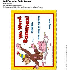 Certificate for Party Guest . Curious George Party . PBS Parents | PBS