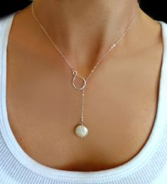Pearl Lariat Necklace - Freshwater Pearl Necklace - Infinity Lariat Necklace - Silver or Gold Eternity Necklace -Winter Wedding Gift Jewelry by GlassPalaceArts on Etsy