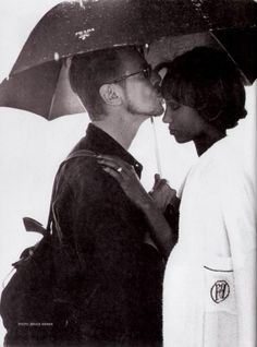 David Bowie and Iman in the rain.