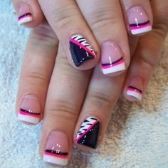 zebra, pink, black, white french nails