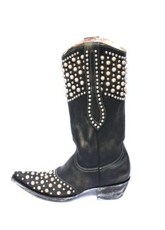 """Old Gringo """"Leigh Anne""""  Black Distressed Leather Boots http://www.cowgirlkim.com/old-gringo-leigh-anne-black-distressed-leather-8844.html"""