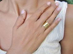 Wide Hammered Gold Ring 14k Gold Filled by AnemoneJewelry on Etsy, $155.00