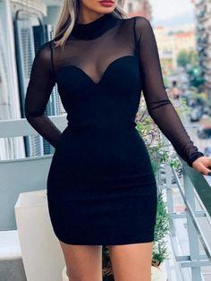 Long Sleeve Mesh Insert Bodycon Dress - #dress #dresses #womendress